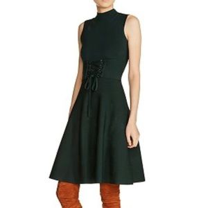 Maje Revolte Green Forest Corset Fit & Flare Dress